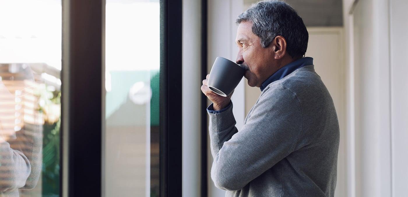 Man drinking coffee relaxing